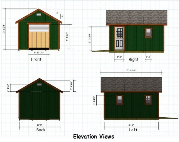 12x16 gable storage shed plans download my shed plans for Gable storage shed plans