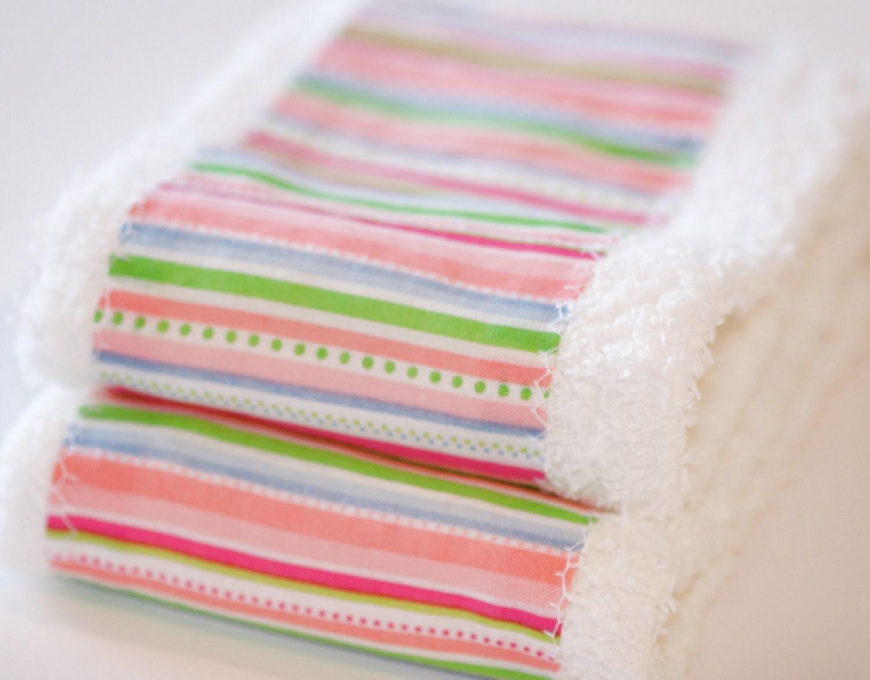 Baby Girl Washcloth /  Burp Cloth Gift Set Stylish Pink, Green, and Blue Striped Washcloth/Burp Cloth Set of 2 EtsyKids