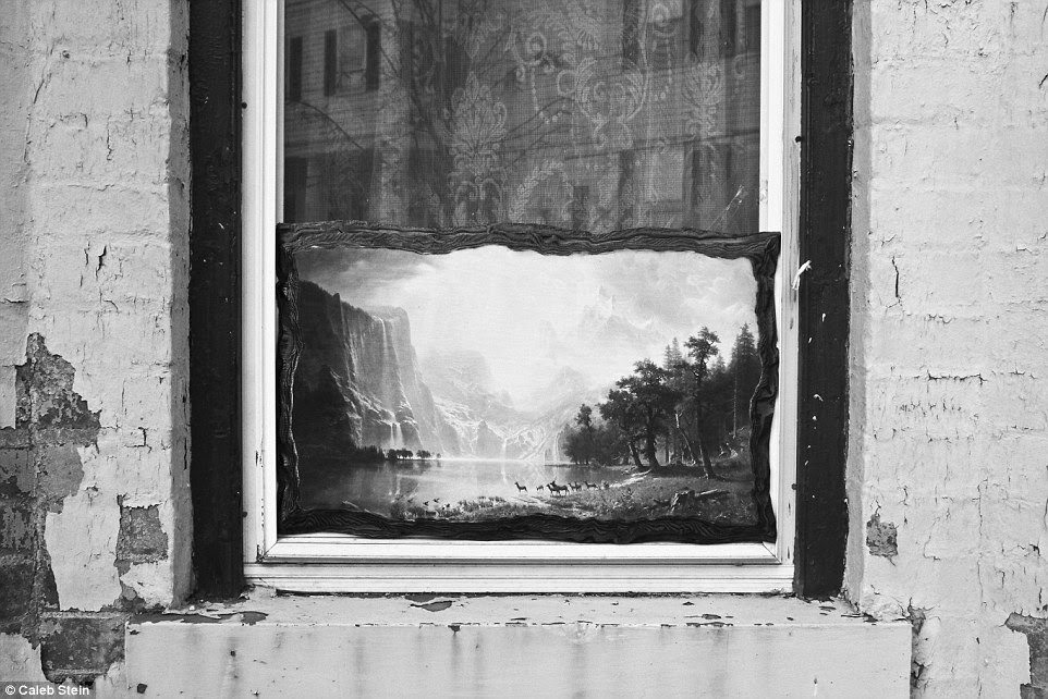 A painting inside of a window on Main Street is pictured above in Poughkeepsie