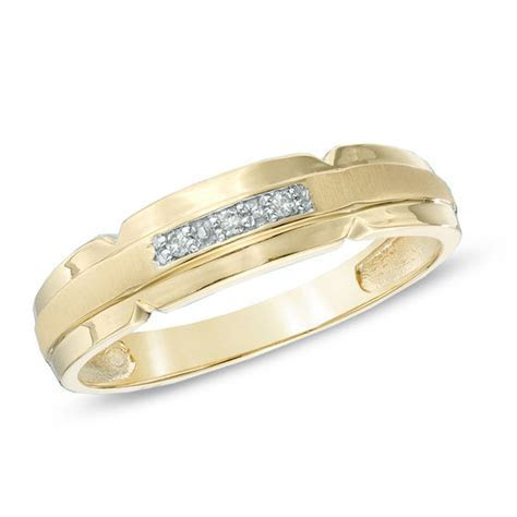 Men's Diamond Accent Satin Wedding Band in 10K Gold