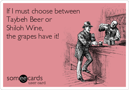 someecards.com - If I must choose between Taybeh Beer or Shiloh Wine, the grapes have it!