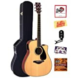 Yamaha FGX720SCA Solid Top Cutaway Acoustic-Electric Guitar Bundle with Hardshell Case, Tuner, Instructional DVD...