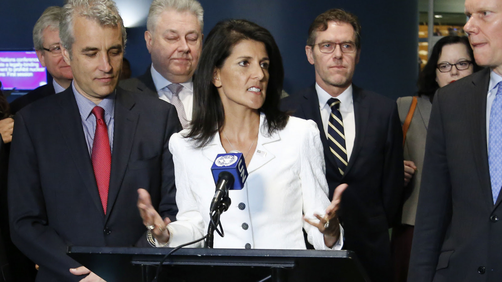 United States Ambassador to the United Nations Nikki Haley, center, speaks to reporters outside the General Assembly at U.N. headquarters, Monday, March 27, 2017. (AP/Seth Wenig)