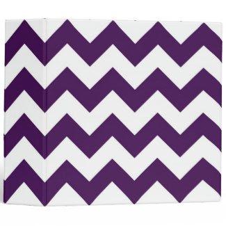 Purple and White Zigzag 3 Ring Binder