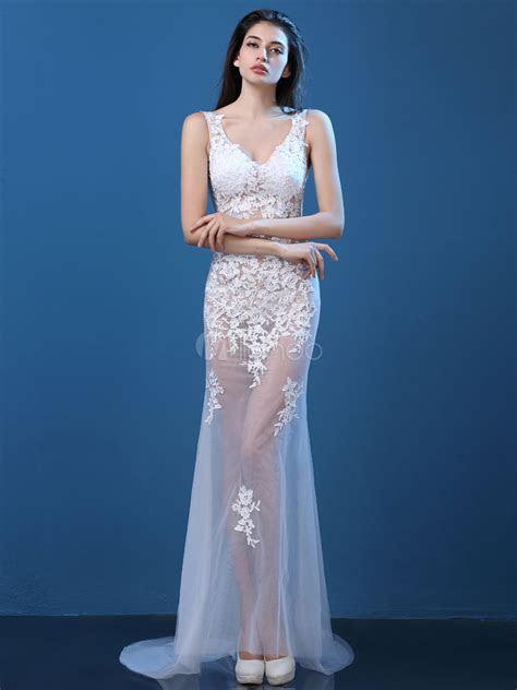 Davids Bridal Long All Over Glitter Lace Mermaid Dress