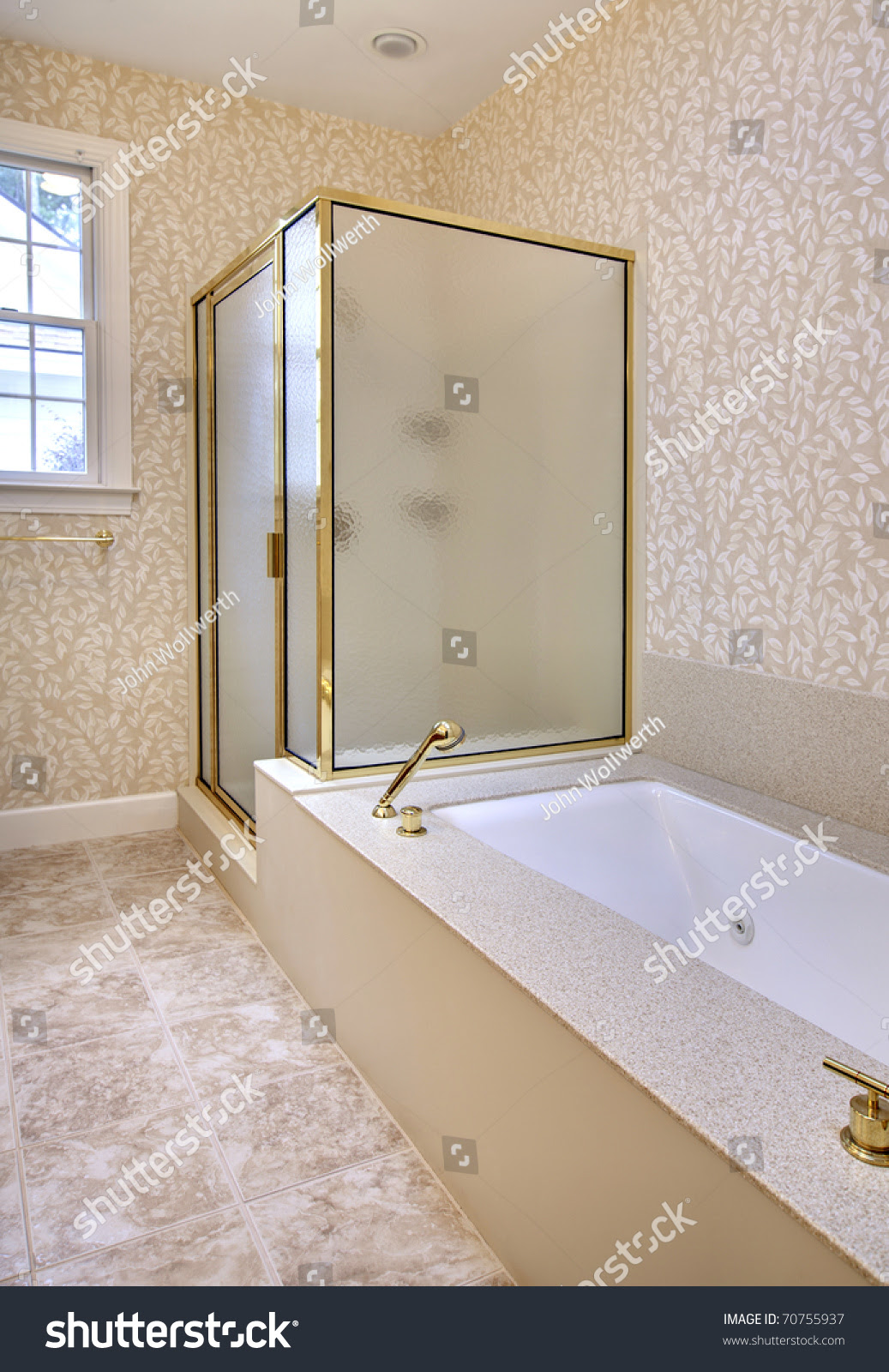 Bathroom With Separate Shower And Bathtub And Tile Stock ...