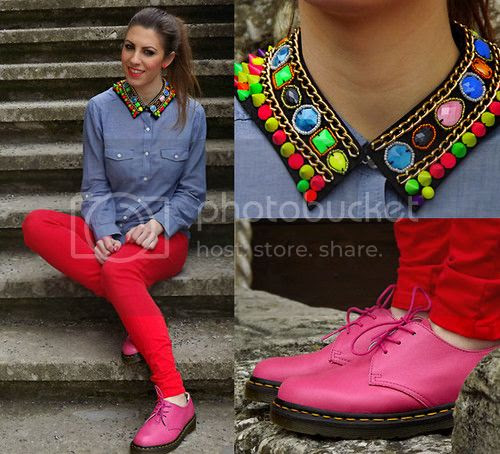 How to style dr. Martens - Dr. Martens 1461 Raspberry - Romwe Beads Collar Zara Red Trousers Jeans Blouse