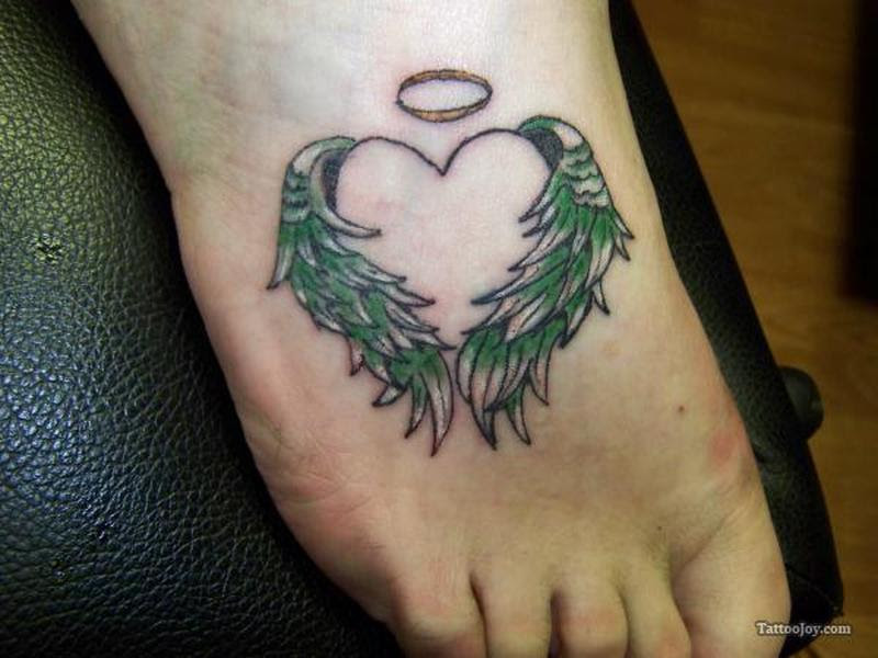 Heart With Angel Wings And Halo Tattoo