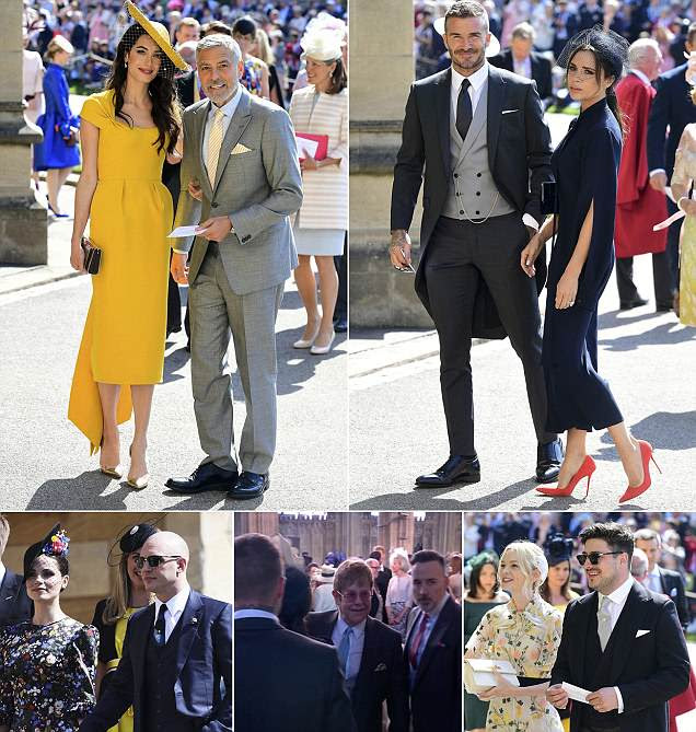 George and Amal Clooney join David and Victoria Beckham at royal wedding