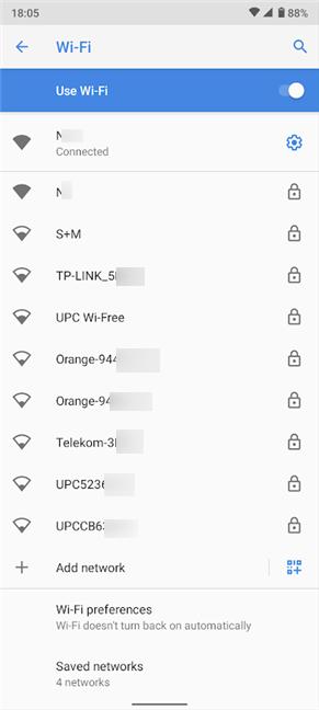 Toque cualquier red para cambiar su configuración de proxy de Wi-Fi en Android