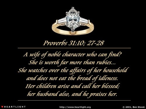 Inspirational illustration of Proverbs 31:10, 27-28