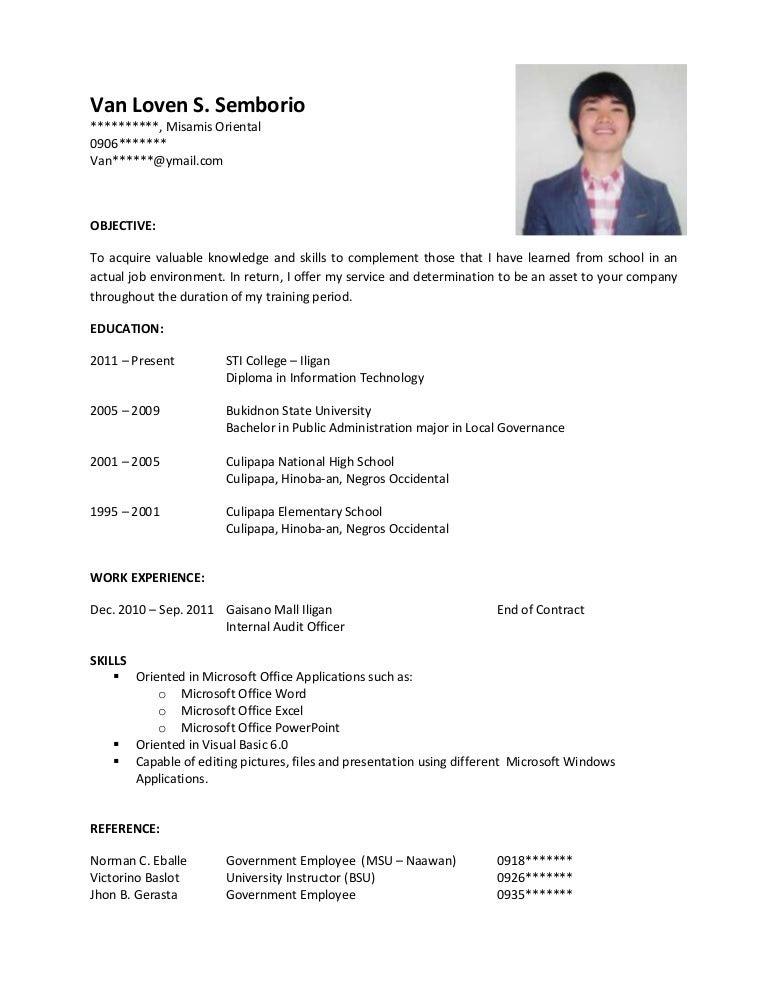 Sample Resume For Ojt