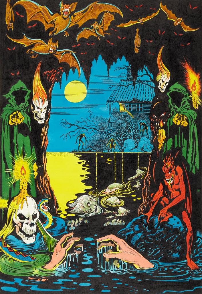 L. B. Cole Weird Terror Scene Specialty Painting Original Art (undated)