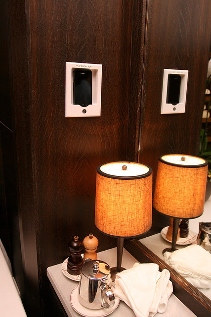 There's even an iPhone/iPod charging dock inside the private dining room!