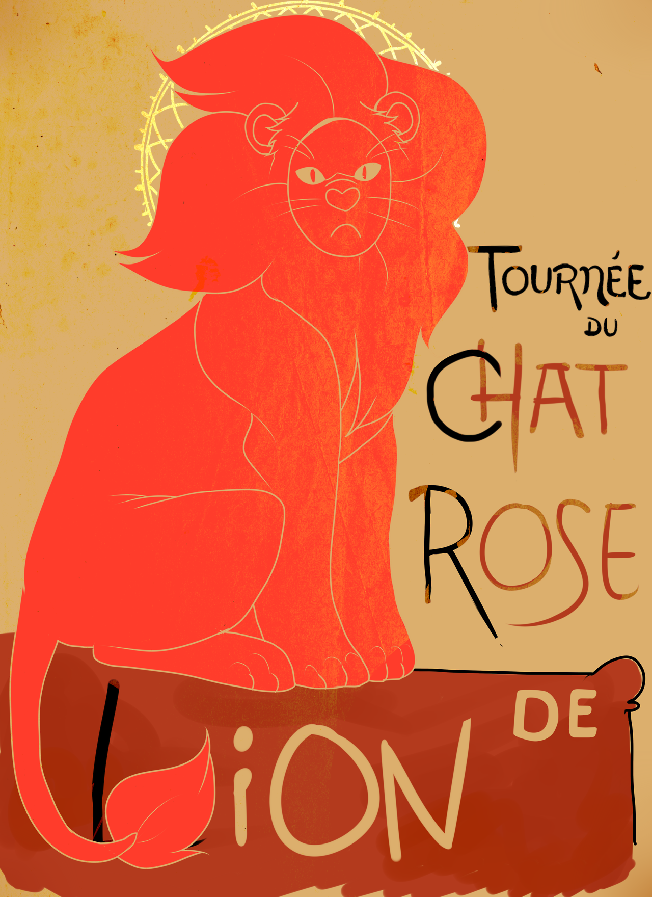 "I got bored so I decided to try and replicate the iconic french ""Chat Noir"" poster but with our big lovable doofus instead!"