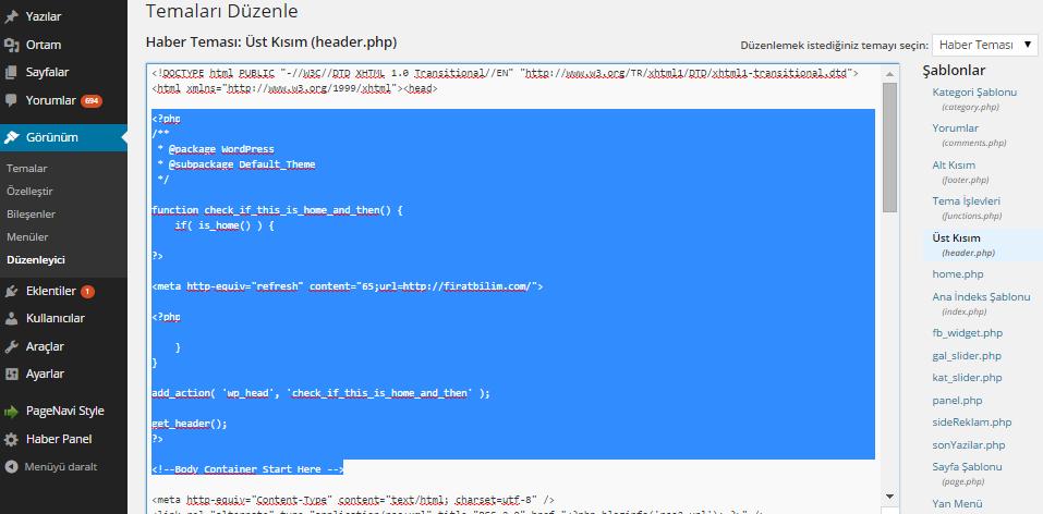 WordPress Otomatik Sayfa Yenileme Kodu