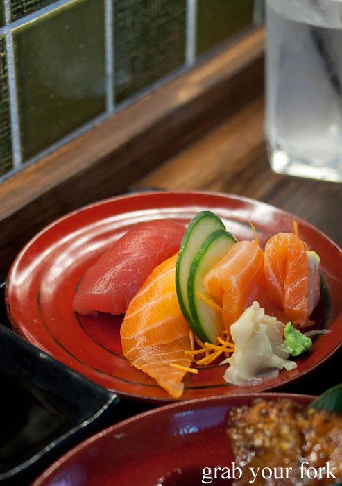 sashimi tuna and salmon at yebisu izakaya, regent place sydney