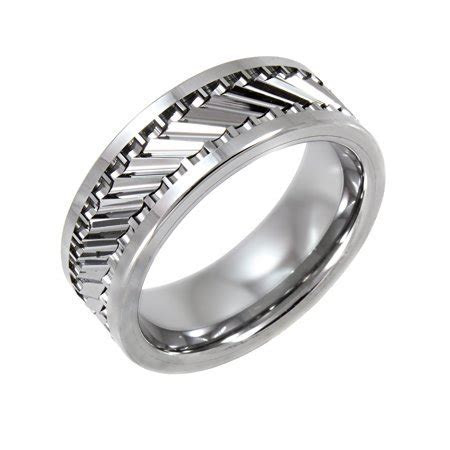 Men's Tungsten 8MM Gear Pattern Wedding Band   Mens Ring
