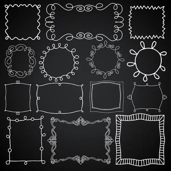 Establecer marcos de foto de época, elementos de diseño de pizarra, dibujo estilo doodle — Vector de stock #47259329