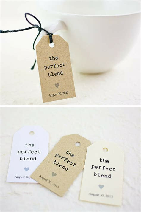 "Personalized kraft wedding tags with saying ""The Perfect"