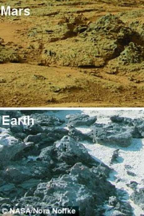 Imagens comparam presença de sedimentos em Marte e na Terra Foto: Daily Mail / Reprodução