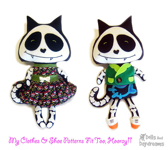 Halloween black cat softie sewing pattern