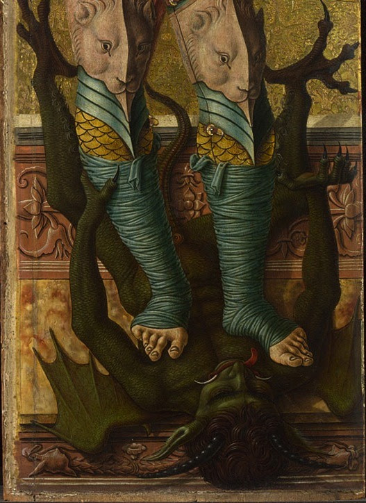 Carlo Crivelli  Saint Michael,detailtempera and gold on panelThe National Gallery, London