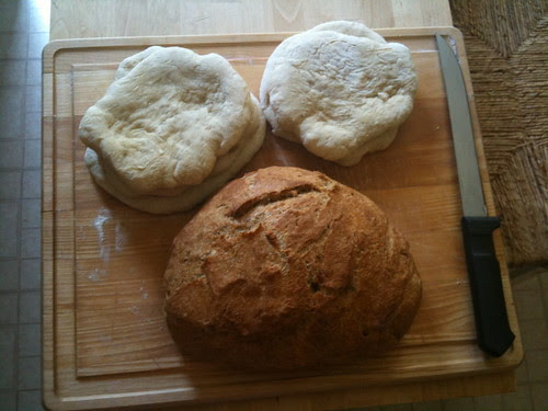 Homemade pitas and bread