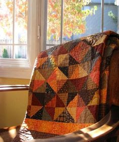 Country Quilt Quilt for Dad, done on point instead, colours blues and browns and beiges though.