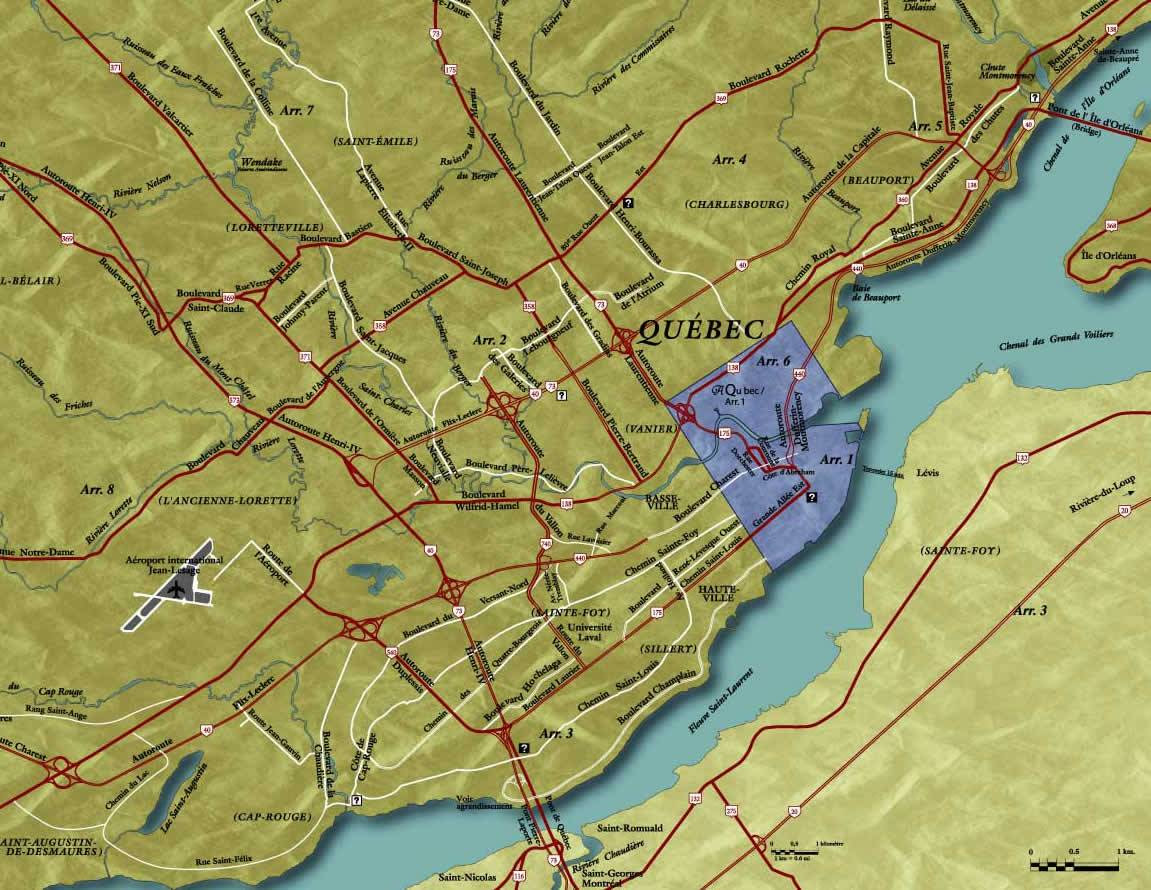 Large Quebec City Maps for Free Download and Print