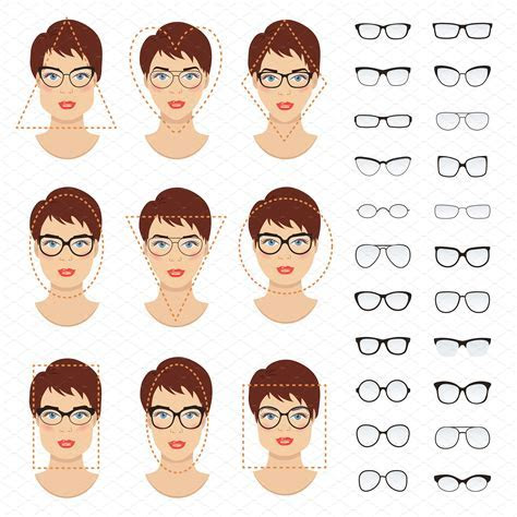 Woman glasses shapes. 9 faces. ~ Graphics ~ Creative Market