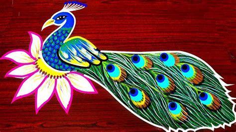 Beautiful and best peacock rangoli designs   Smart Easy Ideas