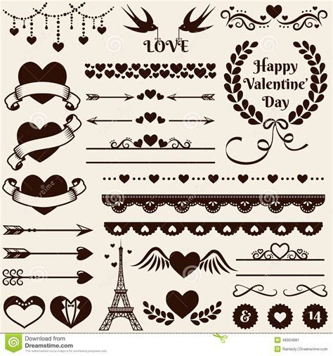 Love, Romance And Wedding Design Elements. Vector Set