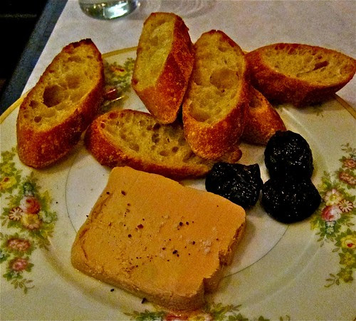 foie gras terrine with dates and baguette