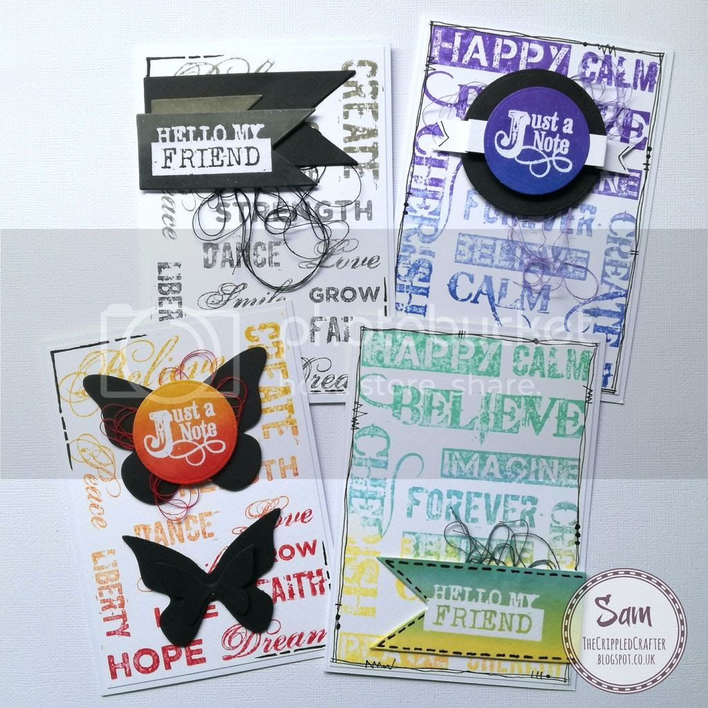 Stamped CAS Cards by Sam Lewis AKA The Crippled Crafter.