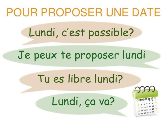 POUR PROPOSER UNE DATE  Lundi, c'est possible?  Je peux te proposer lundi  Tu es libre lundi?  Lundi, ça va?