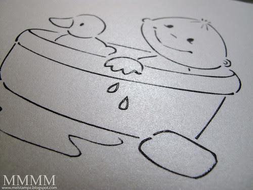 Squigglefly digital image Bathing Baby embossed on paper temptress quartz metallic cardstock