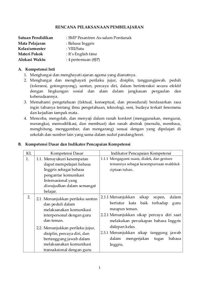 RPP bahasa Inggris kelas 8 semester 1 kurikulum 2013 (bab 1)