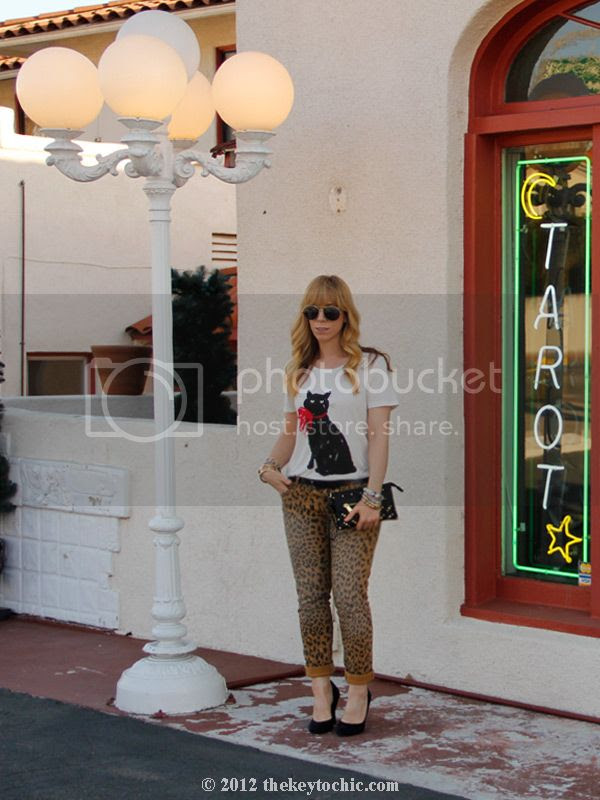 Jason Wu for Target cat T-shirt, Target leopard print jeans, black pumps, L.A. fashion blog