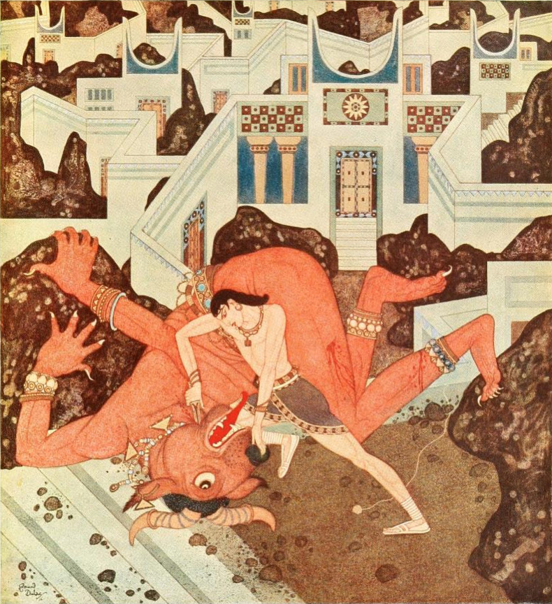 """Edmund Dulac - 'So now the battle was ended ... and  all the wickedness and the ugliness that  infest life, were past and gone forever' from """"The Minotaur"""" in Tanglewood Tales (1918)"""