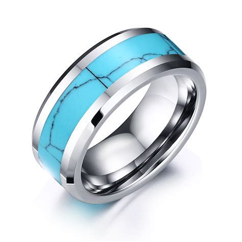 Quality Male Steel Ring 8mm Tungsten Carbide Ring Stone