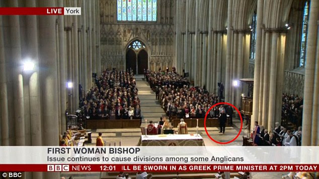 Disruption: Rev Paul Williamson, circled, shouted 'Not in the Bible' during the consecration service