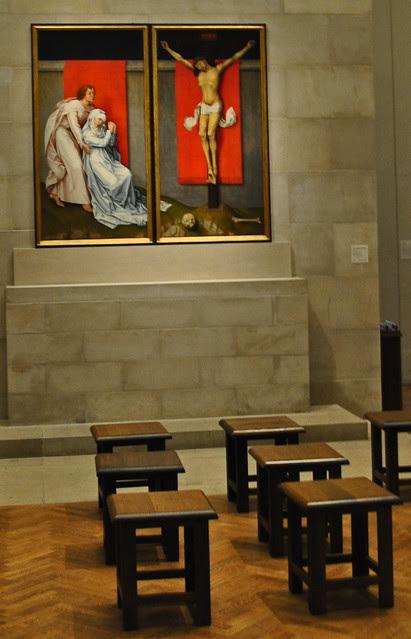 The Crucifixion, with the Virgin and Saint John the Evangelist Mourning - Rogier van der Weyden