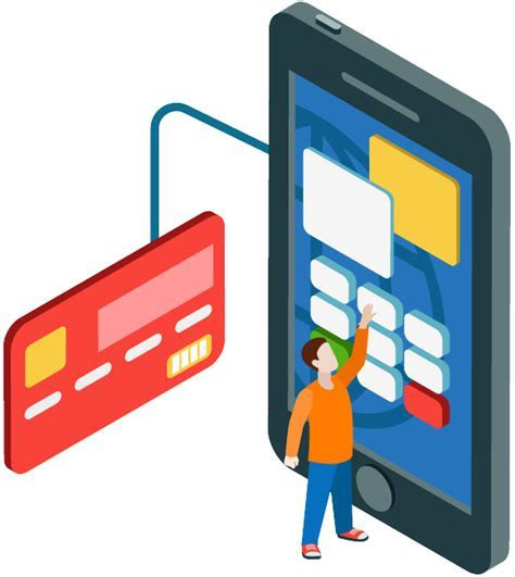 Cartoon small man touch the handphone screen connect visa