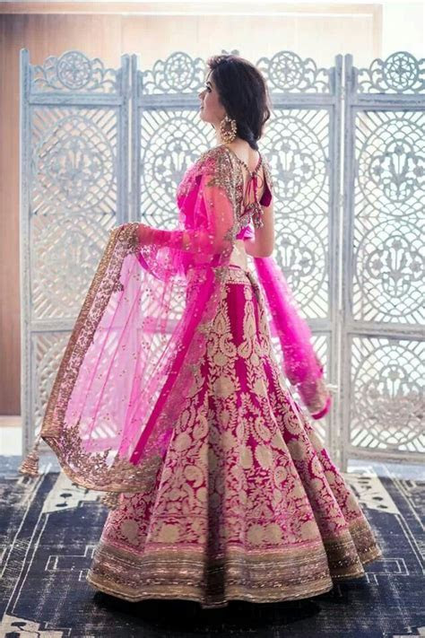 Hot Pink Fishcut, A Line Lehenga for Bridals ? Designers