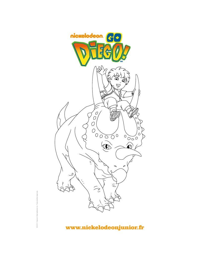 Coloriage gratuit DIEGO et le tricératops