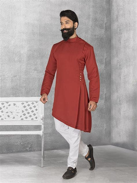Shop Maroon terry rayon plain kurta suit online from