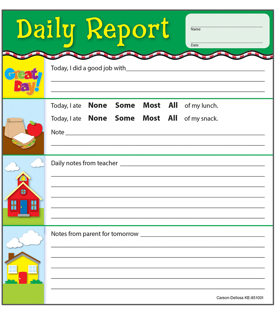 Daily Report Notepad by carson-dellosa (cd851001) - Incentive Pads ...