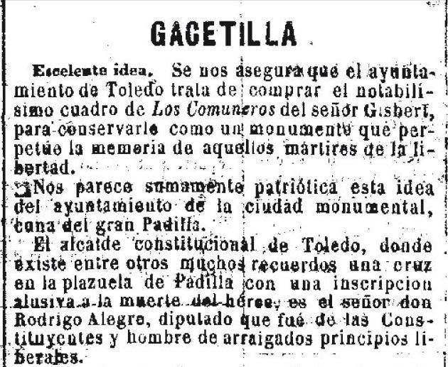 Noticia del interés del Ayuntamiento de Toledo en adquirir el cuadro de Los Comuneros de Gisbert el día 9  de noviembre de 1860 en el periódico La Iberia