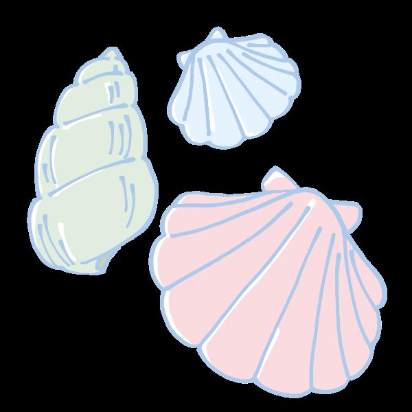 カラフルな貝殻のイラスト かわいいフリー素材が無料のイラストレイン